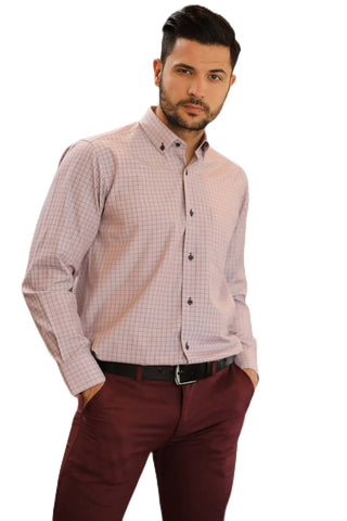 Men's Checkered Dusty Rose Shirt.