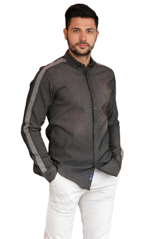 Men's Patterned Black Shirt.