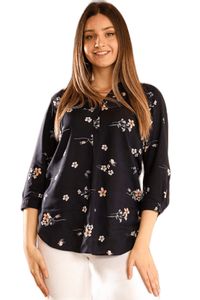 Women's Floral Pattern Navy Blue Shirt - Fashion Under Arrest