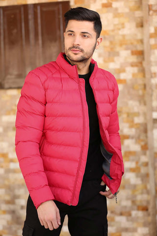 Men's Crew Neck Zipped Vermilion Blown Coat