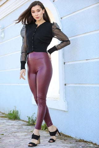 Women's Shiny Claret Red Leather Tights