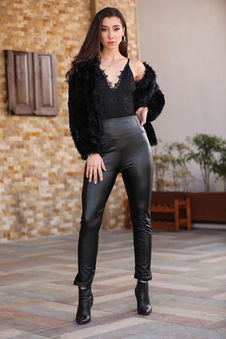 Women's Black Leather Leggings