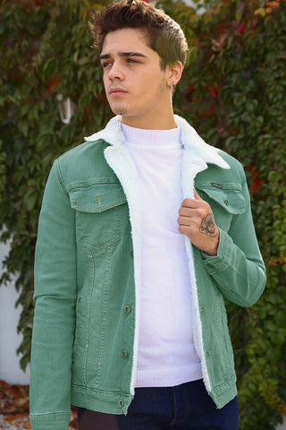 Men's Inner Fur Button Green Denim Jacket