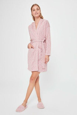 Women's Hooded Pocket Pink Cardigan