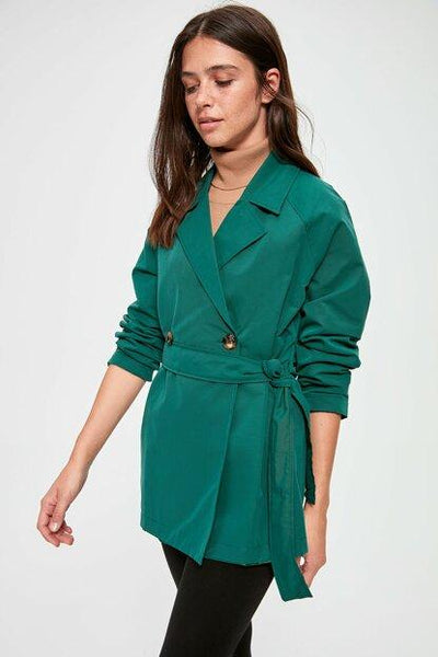 Women's Short Belted Green Trenchcoat