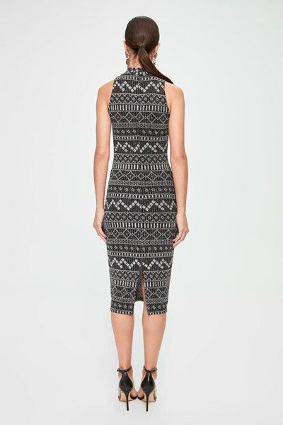 Women's Patterned Grey Midi Dress.