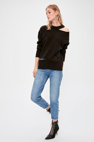 Women's Cut Out Detail Black Tricot Sweater.