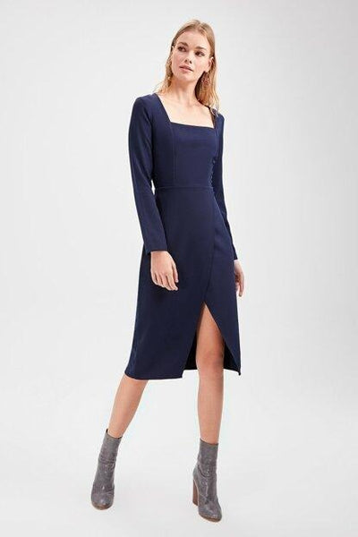 Women's Square Collar Navy Blue Dress.