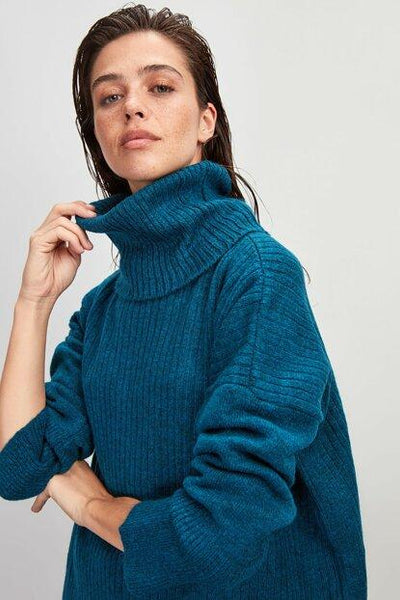 Women's Turtleneck Petrol Tricot Sweater