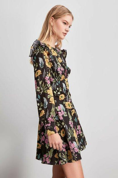 Women's Floral Pattern Black Short Dress.
