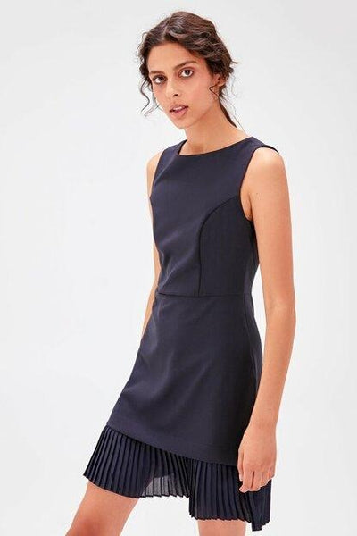 Women's Pleated Hem Navy Blue Dress.