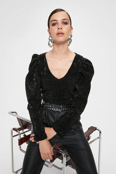 Women's Sleeve Detail Black Blouse - Fashion Under Arrest