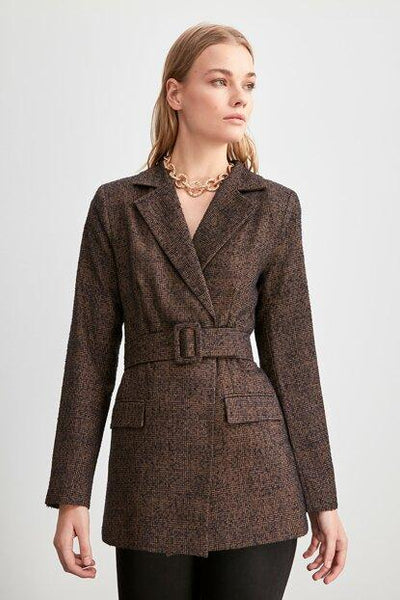 Women's Belted Brown Jacket - Fashion Under Arrest