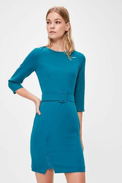 Women's Belted Petrol Short Dress.
