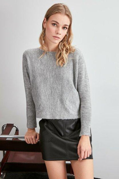 Women's Pocket Grey Tricot Sweater.