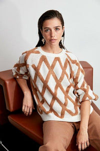 Women's Diaper Pattern Ecru Tricot Sweater