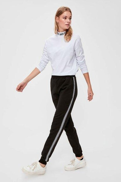 Women's Side Stripe Black Sweatpants-1.