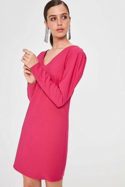 Women's Sleeve Detail Fuchsia Short Dress.