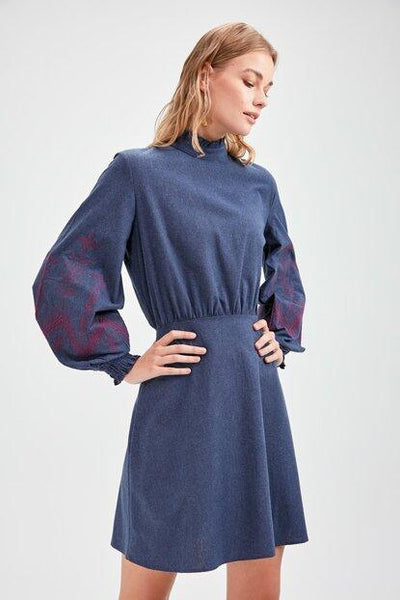 Women's Embroidered Navy Blue Dress.