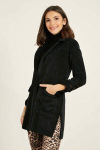 Women's Long Black Velvet Rib Jacket