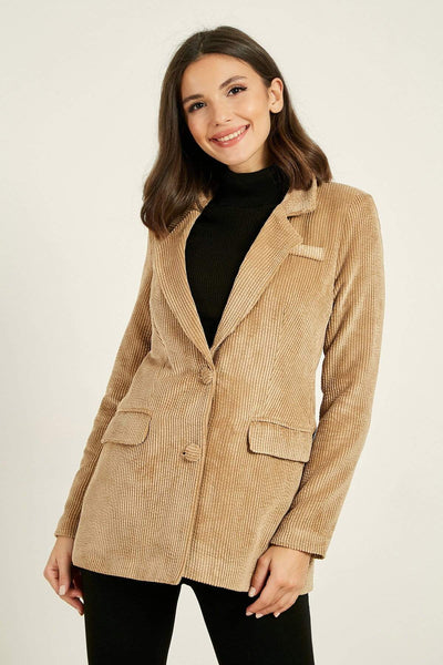 Women's Pocket Beige Velvet Jacket