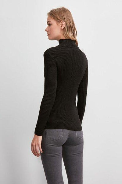Women's Black Tricot Sweater