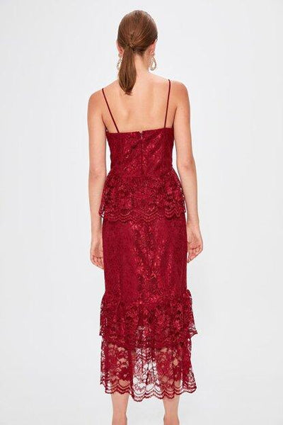 Women's Ruffle Claret Red Dress - Fashion Under Arrest