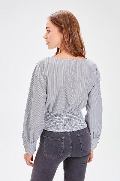 Women's Striped Grey Blouse.