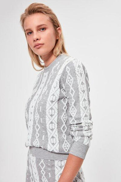 Women's Patterned Grey Tricot Sweater