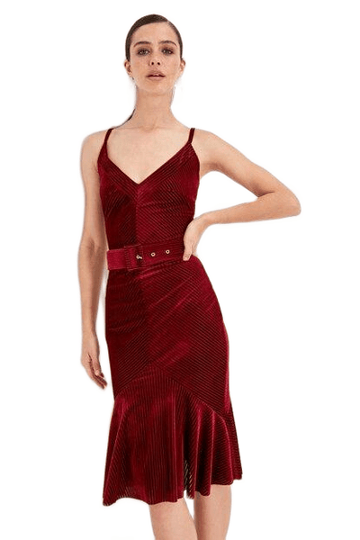 Women's Belted Ruffle Claret Red Short Dress - Fashion Under Arrest