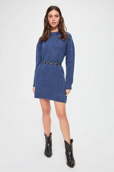 Women's Crew Neck Indigo Tricot Sweater - Fashion Under Arrest