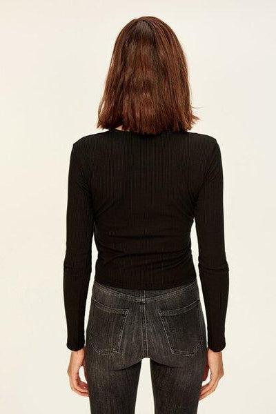 Women's Wrap Rib Black Blouse - Fashion Under Arrest