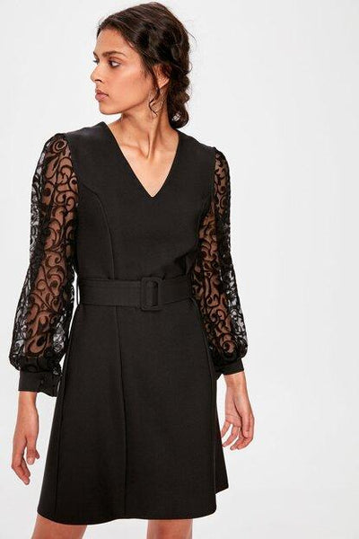 Women's Belted Lace Sleeves Black Dress.