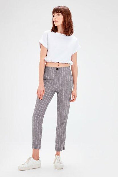 Women's Striped Grey Trousers