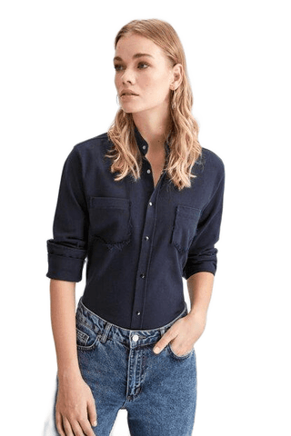 Women's Button Navy Blue Shirt - Fashion Under Arrest