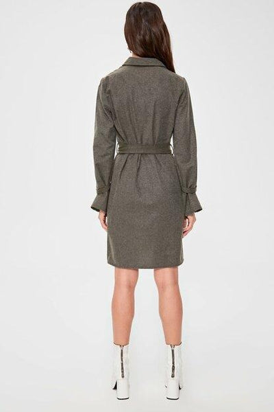 Women's Belted Khaki Short Dress.