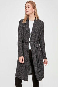Women's Belted Anthracite Cardigan