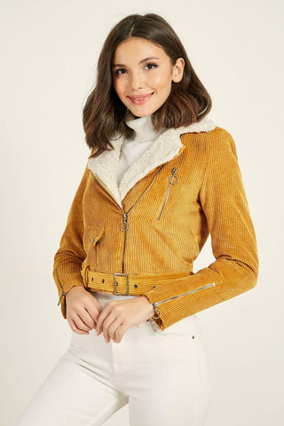 Women's Fur Collar Mustard Velvet Jacket