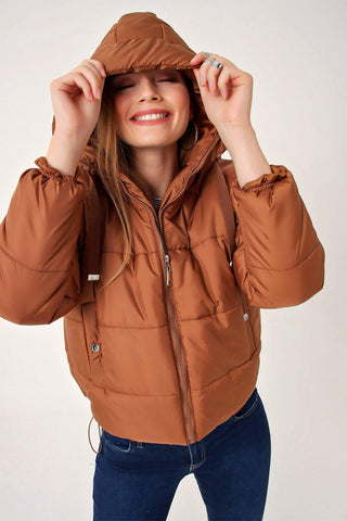 Women's Hooded Shirred Hem Blown Coat