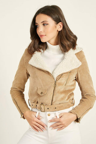 Women's Fur Collar Beige Velvet Jacket