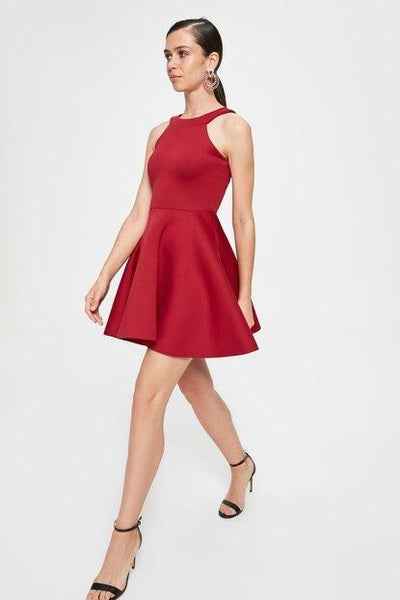 Women's Halter Neck Claret Red Short Dress - Fashion Under Arrest