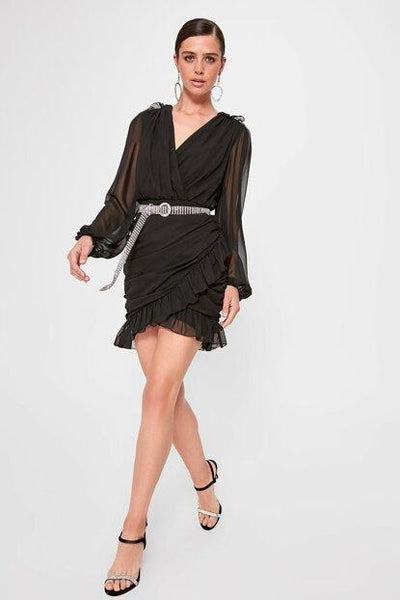 Women's Wrap Collar Black Short Dress - Fashion Under Arrest
