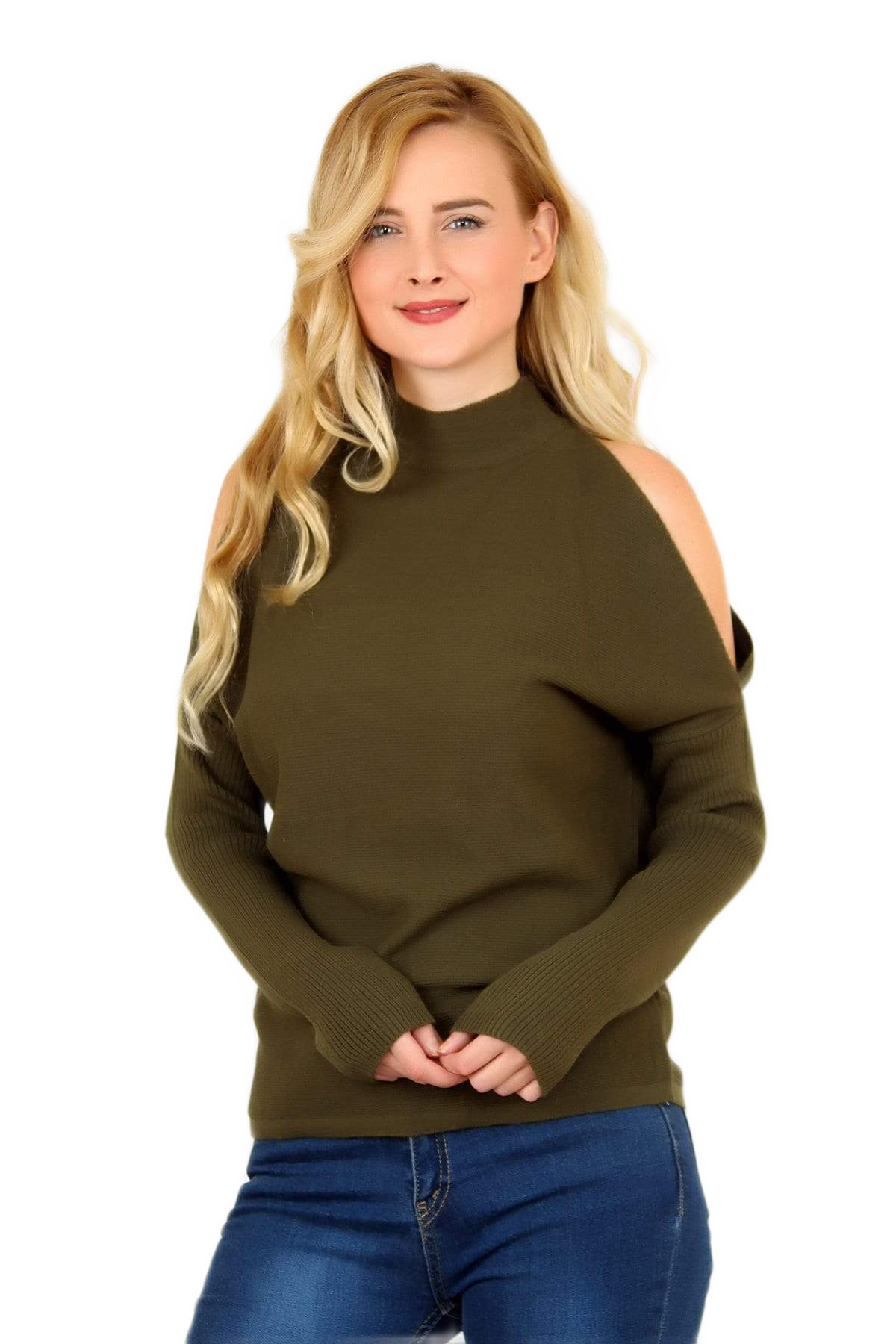 Women's Open Shoulder Khaki Tricot Blouse.