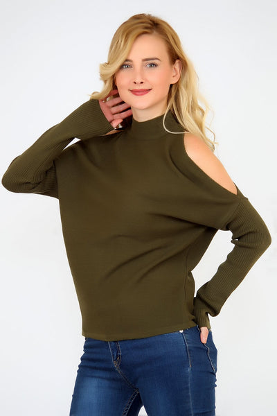 Women's Open Shoulder Khaki Tricot Blouse