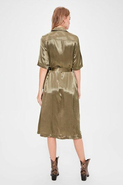 Women's Button Khaki Dress - Fashion Under Arrest