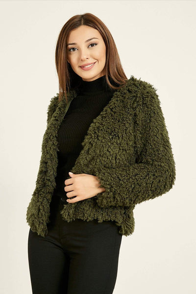 Women's Khaki Plush Short Coat