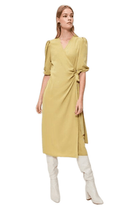 Women's Wrap Tie Chartreuse Midi Dress.