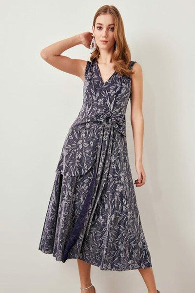 Women's Patterned Indigo Evening Dress - Fashion Under Arrest