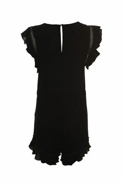 Women's Lace Detail Ruffle Sleeves Black Viscose Jumpsuit