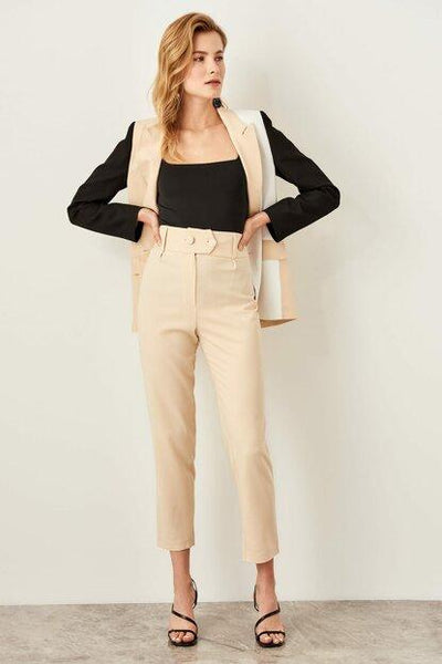 Women's Button Detail Beige Trousers.